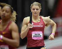 NWA Democrat-Gazette/ANDY SHUPE<br /> Arkansas' Payton Chadwick carries the baton Saturday, Feb. 9, 2019, during her leg of the 4x400 meters during the Tyson Invitational in the Randal Tyson Track Center in Fayetteville. Visit nwadg.com/photos to see more photographs from the meet.