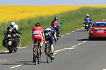 Jasha Sutterlin (GER) Movistar Team and Cyril Lemoine (FRA) Cofidis try to form a breakaway group near Noyon during the 115th edition of the Paris-Roubaix 2017 race running 257km Compiegne to Roubaix, France. 9th April 2017.<br /> Picture: Eoin Clarke | Cyclefile<br /> <br /> <br /> All photos usage must carry mandatory copyright credit (&copy; Cyclefile | Eoin Clarke)