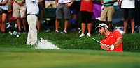 Jon Rahm (ESP) hits from a bunker on the 17th green  during 100th PGA Championship with his caddie Ricky Elliott at Bellerive Country Club, St. Louis, Missouri.<br /> Picture Tom Russo / Golffile.ie<br /> <br /> All photo usage must carry mandatory copyright credit (&copy; Golffile | Tom Russo)