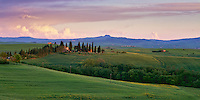 Tuscany; Italy; Italian; Val d'Orcia; Europe; landscape; scenic; travel; Pienza; bench; restaurant; osteria; square; piazza; hilltown; village