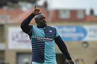 Adebayo Akinfenwa of Wycombe Wanderers celebrates at Full Time his goal which help draw the match 1-1 against Morecambe during the Sky Bet League 2 match between Morecambe and Wycombe Wanderers at the Globe Arena, Morecambe, England on 29 April 2017. Photo by Stephen Gaunt / PRiME Media Images.