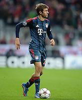 FUSSBALL   CHAMPIONS LEAGUE   SAISON 2013/2014   Vorrunde FC Bayern Muenchen - ZSKA Moskau       17.09.2013 Thomas Mueller (FC Bayern Muenchen) am Ball