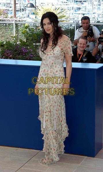MONICA BELLUCCI.The Matrix: Reloaded Photocall.Cannes Film Festival 2003.www.capitalpictures.com.sales@capitalpictures.com.©Capital Pictures.floral print chiffon dress, floaty dress
