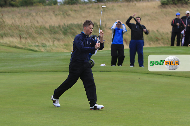 Jack Tuohy (Galway Bay) on the 18th green during the Connacht Semi-Final of the AIG Barton Shield at Galway Bay Golf Club, Galway, Co Galway. 11/08/2017<br /> Picture: Golffile | Thos Caffrey<br /> <br /> <br /> All photo usage must carry mandatory copyright credit     (&copy; Golffile | Thos Caffrey)