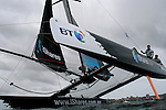 Extreme 40 during a presentation of the catamaran  in Australia, Sydney Harbour..The Extreme 40 was created with two things in mind, action and adrenline! The gap was seen in the Grand Prix sailing market for a fast, inshore catamaran, which would be not only exciting to watch but cost effective to run. TornadoSport created the concept of the Extreme 40 with Yves Loday designing the racing machine..The concept is to build an easy to sail, light weight, fully carbon fibre racing weapon. The boat will fit inside a normal 40ft shipping container on its own road trailer