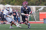 Manhattan Beach, CA 02-11-17 - Emmett Graham (Santa Clara #1) and Givino Rossini (Loyola Marymount #7) in action during the MCLA non-conference game between LMU (SLC) and Santa Clara (WCLL).  Santa Clara defeated LMU 18-3.