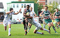 Aviva Premiership. Leicester, England. Vereniki Goneva of Leicester Tigers tackled during the Aviva Premiership match between Leicester Tigers and Exeter Chiefs at Welford Road on September 29. 2012 in Leicester, England.