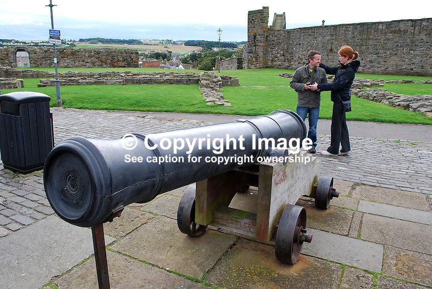 Canon on castle ramparts at St Andrew's, Scotland, UK. 200808220564...Copyright Image from Victor Patterson, 54 Dorchester Park, Belfast, UK, BT9 6RJ..Tel: +44 28 9066 1296.Mob: +44 7802 353836.Voicemail +44 20 8816 7153.Skype: victorpattersonbelfast.Email: victorpatterson@mac.com.Email: victorpatterson@ireland.com (back-up)..IMPORTANT: If you wish to use this image or any other of my images please go to www.victorpatterson.com and click on the Terms & Conditions. Then contact me by email or phone with the reference number(s) of the image(s) concerned.