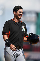 Miami Marlins outfielder Tyler Colvin (26) during a Spring Training game against the Detroit Tigers on March 25, 2015 at Joker Marchant Stadium in Lakeland, Florida.  Detroit defeated Miami 8-4.  (Mike Janes/Four Seam Images)