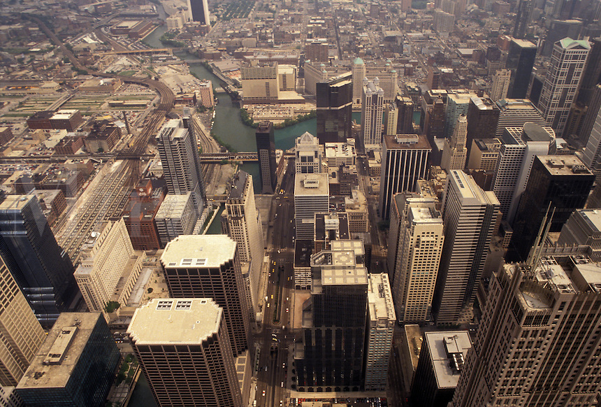 AJ3530, Chicago, Illinois, downtown, Aerial view of the city of Chicago in the state of Illinois.