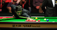 Ronnie O'Sullivan on his way to winning the last frame during the Dafabet Masters FINAL between Barry Hawkins and Ronnie O'Sullivan at Alexandra Palace, London, England on 17 January 2016. Photo by Liam Smith / PRiME Media Images