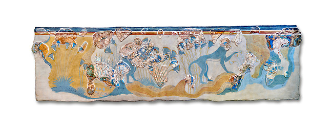 Minoan wall art depicting 'Blue Monkeys' from Knossos Palace, 1700-1450 BC. Heraklion Archaeological Museum.  White Background.
