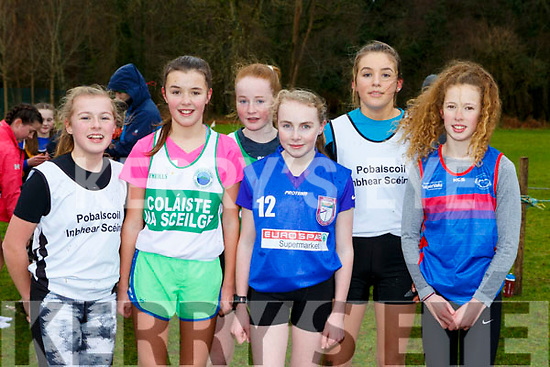The first six home in the Minor Girls race at the Kerry Schools Cross Country championships in Killarney on Friday l-r: Grace Roberts White 5th, Aoife Dwyer Colaiste na Sceilge 3rd, Sarah O'Shea Colaiste na Scelige 6th, Shauna McCarthy Killorglin 1st, Lucy Daly PS Inbhear Sceine 4th, Lola Eager IS Killorglin 2nd.