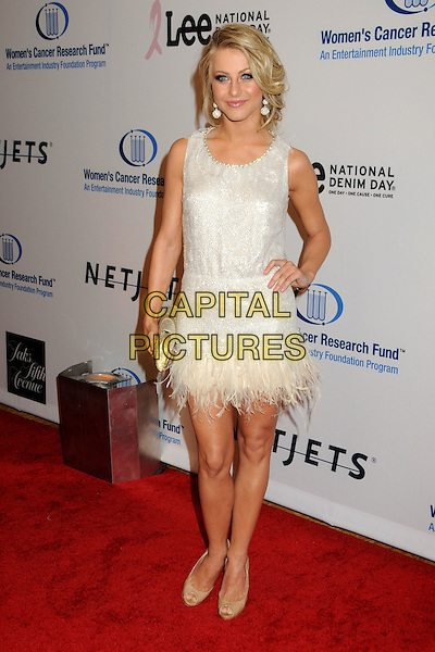 JULIANNE HOUGH.EIF's Women's Cancer Research Fund Benefit held at the Beverly Wilshire Hotel, Beverly Hills, California, USA..January 27th, 2010.full length dress gold white silver sleeveless beige shoes clutch bag feathers.CAP/ADM/BP.©Byron Purvis/AdMedia/Capital Pictures.
