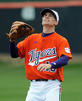 Outfielder Alex Lee warms up prior to a game between the Clemson Tigers and Mercer Bears on Feb. 24, 2008, at Doug Kingsmore Stadium in Clemson, S.C. Photo by: Tom Priddy/Four Seam Images