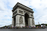 The peloton round the Arc de Triomphe on the Champs-Elysees during Stage 21 of the 2018 Tour de France running 116km from Houilles to Paris Champs-Elysees, France. 29th July 2018. <br /> Picture: ASO/Alex Broadway | Cyclefile<br /> All photos usage must carry mandatory copyright credit (&copy; Cyclefile | ASO/Alex Broadway)