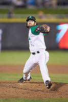 Dayton Dragons relief pitcher Adrian Chacon (22) in action against the Bowling Green Hot Rods at Fifth Third Field on June 8, 2018 in Dayton, Ohio. The Hot Rods defeated the Dragons 11-4.  (Brian Westerholt/Four Seam Images)