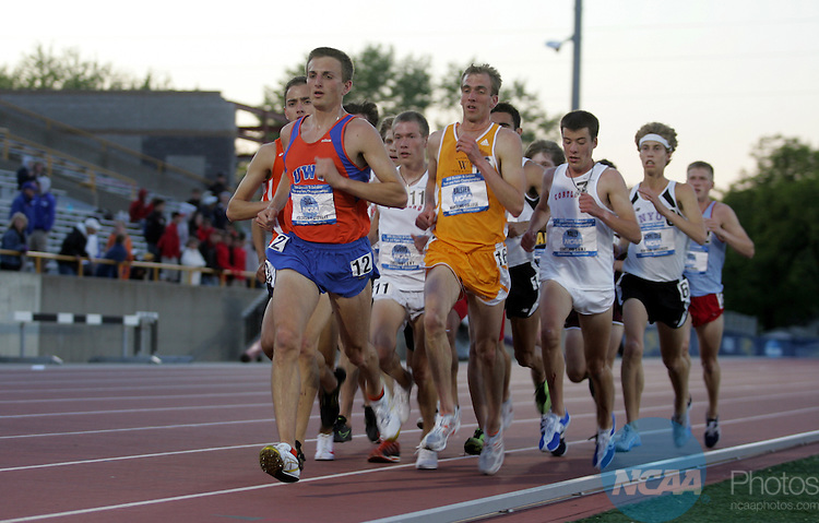 22 MAY 2008:  University of Wisconsin Platteville senior Tyler Sigl (12) and Wartburg College senior Kevin Balster (16) pace the field in the 10,000 meters finals during the Men's Outdoor Track & Field Championships held at J.J. Keller Field on the University of Wisconsin, Oshkosh campus in Oshkosh, WI.  Sigl won the event with a track record time of 30:34:51 beating his previous track record with Balster placing second.   Al Fredrickson/NCAA Photos