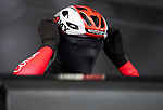 Cofidis rider feeling the chill at sign on before the start of Stage 2 of the 2019 Tour de Yorkshire, running 132km from Barnsley to Bedale, Yorkshire, England. 3rd May 2019.<br /> Picture: ASO/SWPix   Cyclefile<br /> <br /> All photos usage must carry mandatory copyright credit (&copy; Cyclefile   ASO/SWPix)