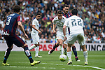 Real Madrid's James Rodriguez and Isco Alarcon and Sociedad Deportiva Eibar's Aleksandar Pantic during La Liga match. April 09, 2016. (ALTERPHOTOS/Borja B.Hojas)