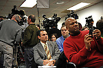 Members of the media gather ahead of Illinois Governor Rod Blagojevich announcement of Roland Burris as Barack Obama's replacement to the U.S. Senate in the governor's press room of the Thompson Center in Chicago, Illinois on December 30, 2008.
