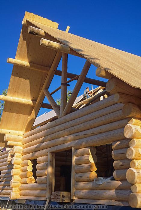 Custom Scandinavian scribe, log home construction, Fairbanks, Alaska