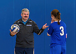 26 October 2014: Yeshiva University Maccabee Head Coach Joseph Agrest, instructs team members prior to a game against the Maritime College Privateers, at the College of Mount Saint Vincent, in Riverdale, NY. The Privateers defeated the Maccabees 3-0 in the NCAA Division III Women's Volleyball Skyline matchup. Mandatory Credit: Ed Wolfstein Photo *** RAW (NEF) Image File Available ***