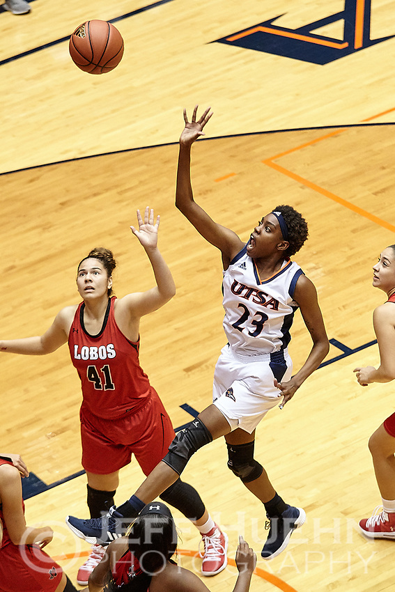 SAN ANTONIO, TX - NOVEMBER 2, 2018: The University of Texas at San Antonio Roadrunners defeat the Sul Ross State University Lady Lobos 84-41 in an exhibition game at the UTSA Convocation Center. (Photo by Jeff Huehn)