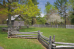 Blue Ridge Parkway, VA<br /> Puckett cabin homesite, historic log cabin and split rail fence