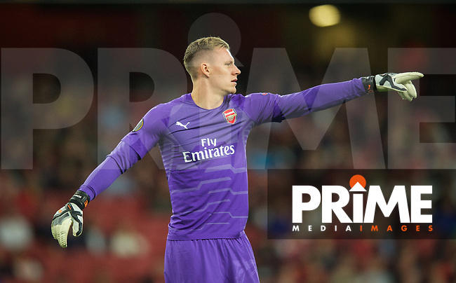 Goalkeeper Bernd Leno of Arsenal during the UEFA Europa League group E match between Arsenal and Vorskla Poltava at the Emirates Stadium, London, England on 20 September 2018. Photo by Andrew Aleks.