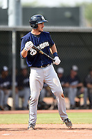 Milwaukee Brewers catcher Parker Berberet (14) during an Instructional League game against the Los Angeles Angels of Anaheim on October 9, 2014 at Tempe Diablo Stadium Complex in Tempe, Arizona.  (Mike Janes/Four Seam Images)