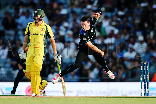 03.02.2016. Auckland, New Zealand.  Adam Milne of New Zealand bowls. ANZ International Series, 1st Chappell-Hadlee Trophy ODI between New Zealand Back Caps and Australia at Eden Park in Auckland, New Zealand.