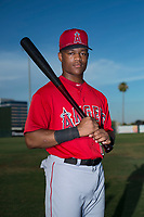 AZL Angels outfielder Datren Bray (16) poses for a photo before an Arizona League game against the AZL Padres 2 at Tempe Diablo Stadium on July 18, 2018 in Tempe, Arizona. The AZL Padres 2 defeated the AZL Angels 8-1. (Zachary Lucy/Four Seam Images)