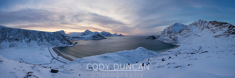 Panoramic view over Vik and Haukland beachs in winter, Vestvågøy, Lofoten Islands, Norway