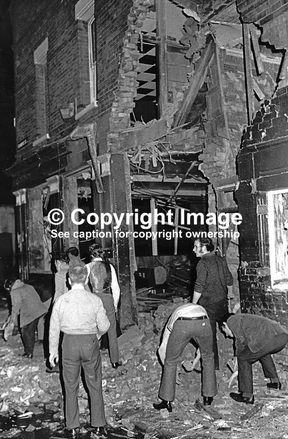 Scene following explosion at Clarkin's pub, Springfield Road, Belfast, 13th January 1973. Seventeen were injured three of which are still detained in hospital. Loyalist paramilitaries were being blamed for the attack. 19730130065.<br /> <br /> Copyright Image from Victor Patterson, 54 Dorchester Park, Belfast, UK, BT9 6RJ<br /> <br /> Tel: +44 28 9066 1296<br /> Mob: +44 7802 353836<br /> Voicemail +44 20 8816 7153<br /> Skype: victorpattersonbelfast<br /> Email: victor@victorpatterson.com<br /> Email: victorpatterson@me.com (back-up)<br /> <br /> IMPORTANT: If you wish to use this image or any other of my images please go to www.victorpatterson.com and click on the Terms &amp; Conditions. Then contact me by email or phone with the reference number(s) of the image(s) concerned.