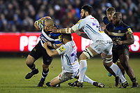 Tom Dunn of Bath Rugby takes on the Exeter Chiefs defence. Aviva Premiership match, between Bath Rugby and Exeter Chiefs on March 23, 2018 at the Recreation Ground in Bath, England. Photo by: Patrick Khachfe / Onside Images