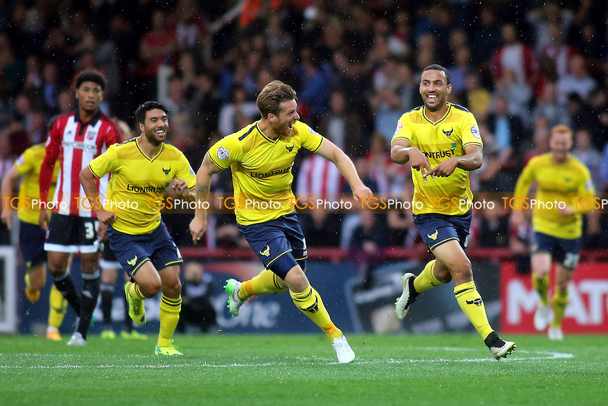 Kemar Roofe celebrates scoring Oxford's third goal during Brentford vs Oxford United, Capital One Cup 1st Round Football at Griffin Park, London, England on 11/08/2015