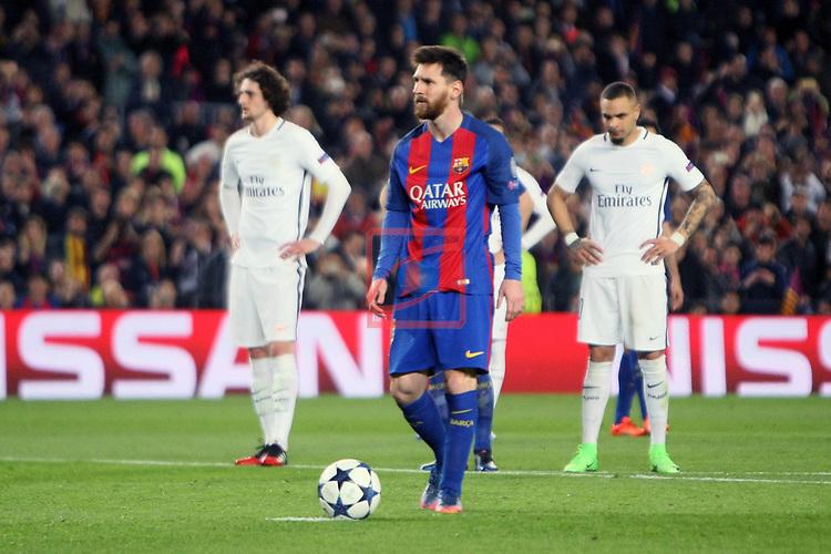 UEFA Champions League 2016/2017.<br /> Round of 16 2nd leg<br /> FC Barcelona vs Paris Saint-Germain: 6-1.<br /> 3-0: Lionel Messi.