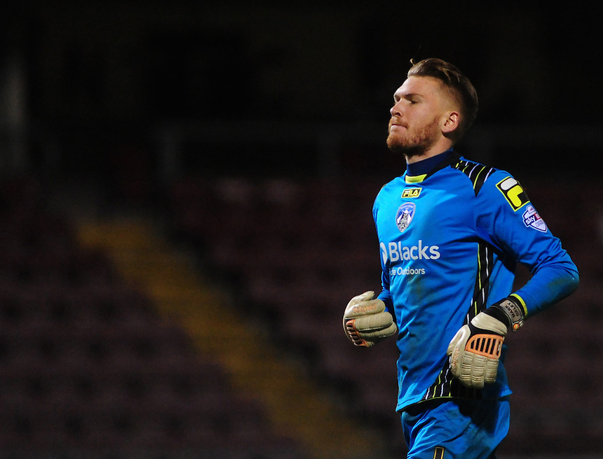 Oldham Athletic's Mark Oxley <br /> <br /> Photo by Chris Vaughan/CameraSport<br /> <br /> Football - The Football League Sky Bet League One - Coventry City v Oldham Athletic - Sunday 29th December 2013 - Sixfields Stadium - Northampton<br /> <br /> &copy; CameraSport - 43 Linden Ave. Countesthorpe. Leicester. England. LE8 5PG - Tel: +44 (0) 116 277 4147 - admin@camerasport.com - www.camerasport.com