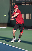 Stanford, CA -- February3, 2012: John Morrissey during the Friday afternoon Stanford vs USC match at Taube Family Tennis Stadium.<br /> <br /> No.6 Stanford dropped a 7-0 decision to No. 1 USC.