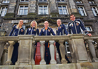 April 17, 2015, Netherlands, Den Bosch, Maaspoort, Fedcup Netherlands-Australia,  Dutch team, l.t.r.: Arantxa Rus, Micha&euml;lla Krajicek, Richel Hogenkamp, Kiki Bertens and captain Paul Haarhuis<br /> Photo: Tennisimages/Henk Koster
