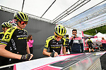 Simon Yates (GBR) and Mitchelton-Scott at sign on before Stage 17 of the 2019 Giro d'Italia, running 181km from Commezzadura (Val di Sole) to Anterselva / Antholz, Italy. 29th May 2019<br /> Picture: Massimo Paolone/LaPresse | Cyclefile<br /> <br /> All photos usage must carry mandatory copyright credit (© Cyclefile | Massimo Paolone/LaPresse)