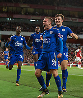 Leicester City's Jamie Vardy celebrates scoring his sides third goal with team mates<br /> <br /> Photographer Craig Mercer/CameraSport<br /> <br /> The Premier League - Arsenal v Leicester City - Friday 11th August 2017 - Emirates Stadium - London<br /> <br /> World Copyright &copy; 2017 CameraSport. All rights reserved. 43 Linden Ave. Countesthorpe. Leicester. England. LE8 5PG - Tel: +44 (0) 116 277 4147 - admin@camerasport.com - www.camerasport.com