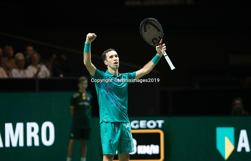 Rotterdam, The Netherlands, 11 Februari 2019, ABNAMRO World Tennis Tournament, Ahoy, first round match: Mikhail Kukushkin (KAZ),<br />