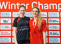 Picture by Allan McKenzie/SWpix.com - 13/12/2017 - Swimming - Swim England Winter Championships - Ponds Forge International Sport Centre - Sheffield, England - Georgina Dennis with Eleanor Faulkner taking gold in the womens open 200m freestyle.