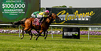 ELMONT, NY - JUNE 08: Fourstar Crook, #8, ridden by Irad Ortiz Jr., wins the New York Stakes during Friday racing action of the Belmont Stakes Festival at Belmont Park on June 8, 2018 in Elmont, New York. (Photo by Carson Dennis/Eclipse Sportswire/Getty Images)