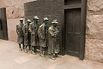 Washington DC, The FDR Franklin Delano Roosevelt Memorial, sculpture of men in a soup kitchen line.  Photo wash99318-70628..Photo copyright Lee Foster, wwww.fostertravel.com, lee@fostertravel.com, 510-549-2202.   ..