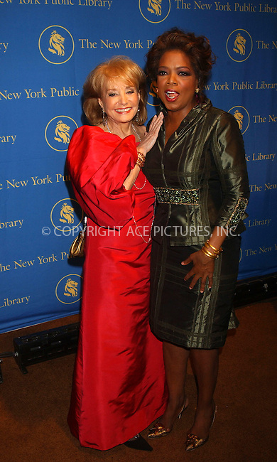 WWW.ACEPIXS.COM . . . . . ....November 13, 2006, New York City. ....Oprah Winfrey and Barbara Walters attend the Annual Library Lions Gala Held at the New York Public Library. ....Please byline: KRISTIN CALLAHAN - ACEPIXS.COM.. . . . . . ..Ace Pictures, Inc:  ..(212) 243-8787 or (646) 769 0430..e-mail: info@acepixs.com..web: http://www.acepixs.com