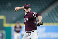 Mississippi State Bulldogs relief pitcher Cole Gordon (24) in action against the Louisiana-Lafayette Ragin' Cajuns in game three of the 2018 Shriners Hospitals for Children College Classic at Minute Maid Park on March 2, 2018 in Houston, Texas.  The Bulldogs defeated the Ragin' Cajuns 3-1.   (Brian Westerholt/Four Seam Images)