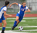 Roxana forward Emma Lucas attacks the Freeburg goal in the second half. Roxana High School played a girls soccer game at Freeburg High School on Thursday May 3, 2018. Tim Vizer | Special to STLhighschoolsports.com